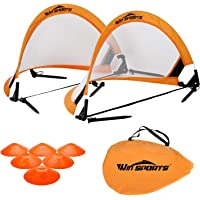 Win SPORTS Pro Foldable Pop Up Soccer Goal - 2 Portable Soccer Nets with Carrying Case and Training Cones - Practice in…