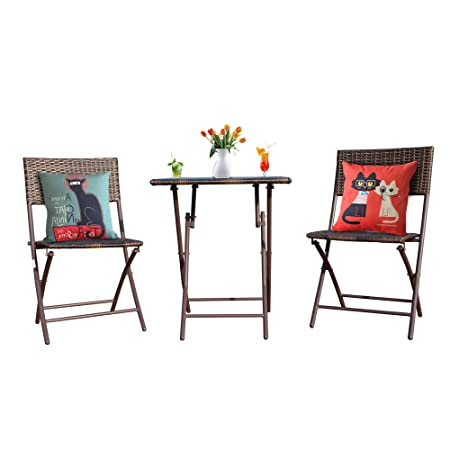 Goodgojo Rattan Patio Bistro Set 3 PCS Weather Resistant Outdoor Furniture Set Foldable Garden Table and Chairs