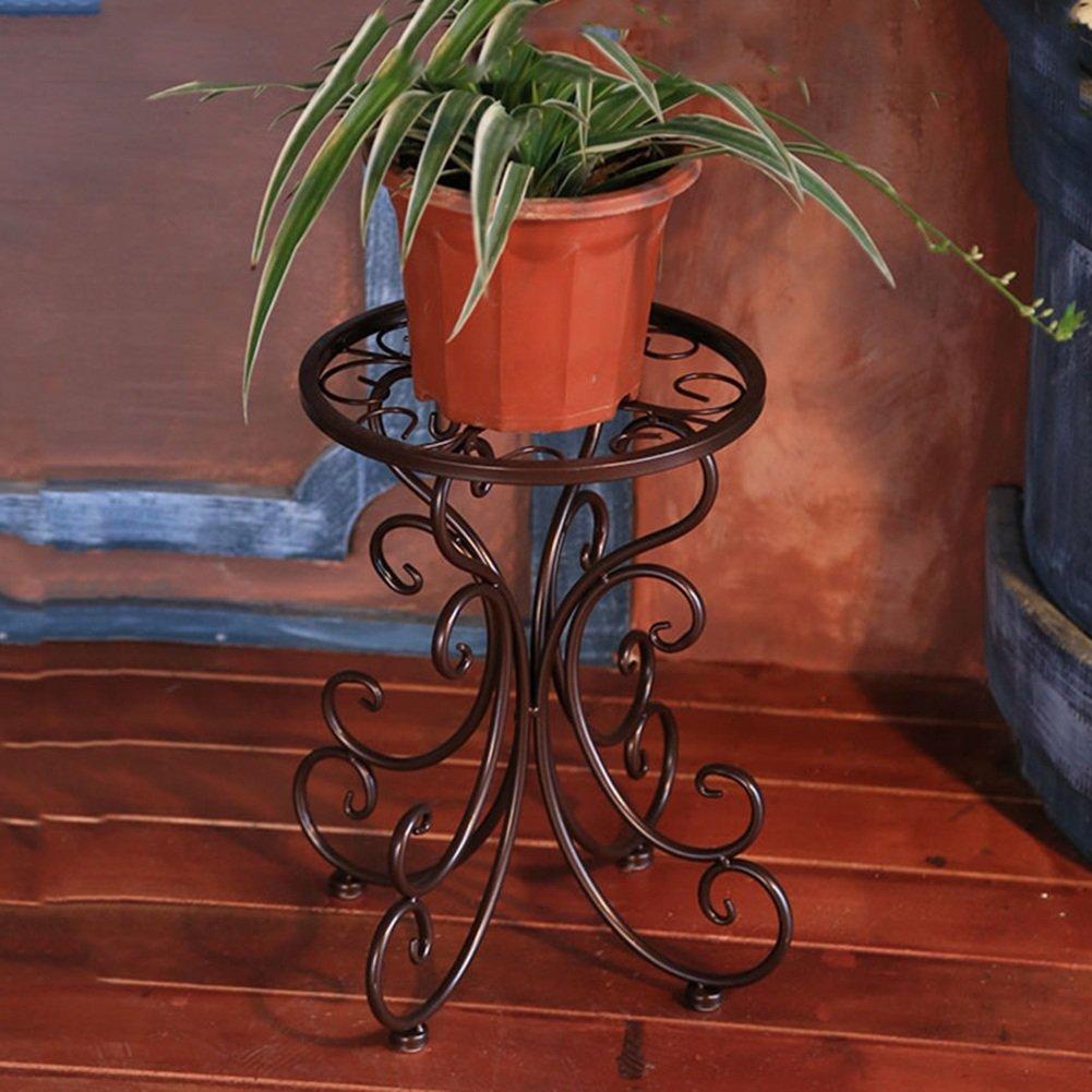 フラワースタンド 園芸 ラック 鍛鉄製フラワースタンド、グリーンプランター、フロアプランター、室内屋外リビングルーム、バルコニー、フラワースタンド(黒、白、茶、2サイズあり) ZHANGQIANG (色 : Brown - Queen four feet) B07DVZKCRJ Brown - Queen four feet Brown  Queen four feet