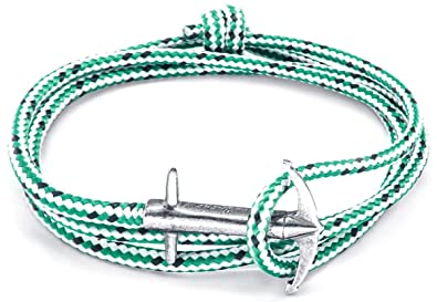 Anchor & Crew Green Dash Admiral Silver And Rope Bracelet iTBmx13nw