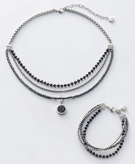 Jewels by Leonardo Damen Halskette Favo, Edelstahl mit facettierten Glas und Hämatit Perlen, Clip & Mix System, Länge 430 mm, 016635