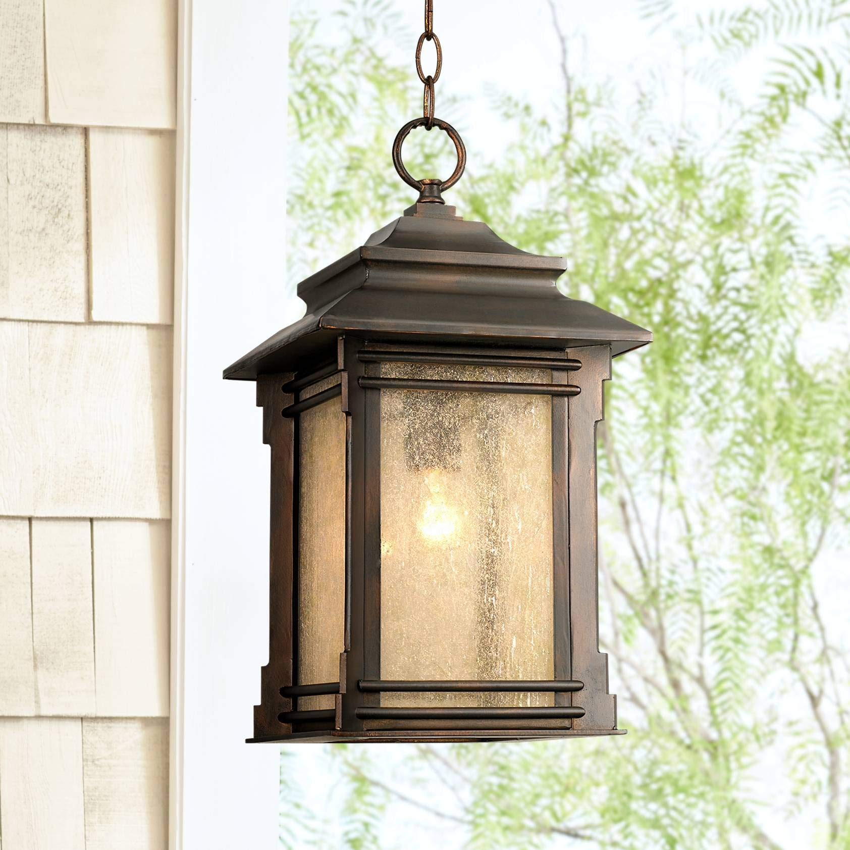 Hickory Point Rustic Outdoor Ceiling Light Hanging Lantern Walnut Bronze 19 1/4'' Frosted Glass Damp Rated for Porch Patio - Franklin Iron Works