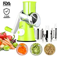 Manual Hand Speedy Mandoline Slicer Pasta Salad Maker Vegetable Fruit Cutter Rotating Drum Cheese Grater Potato Tomato Food Slicer With 3 Round Stainless Steel Blades