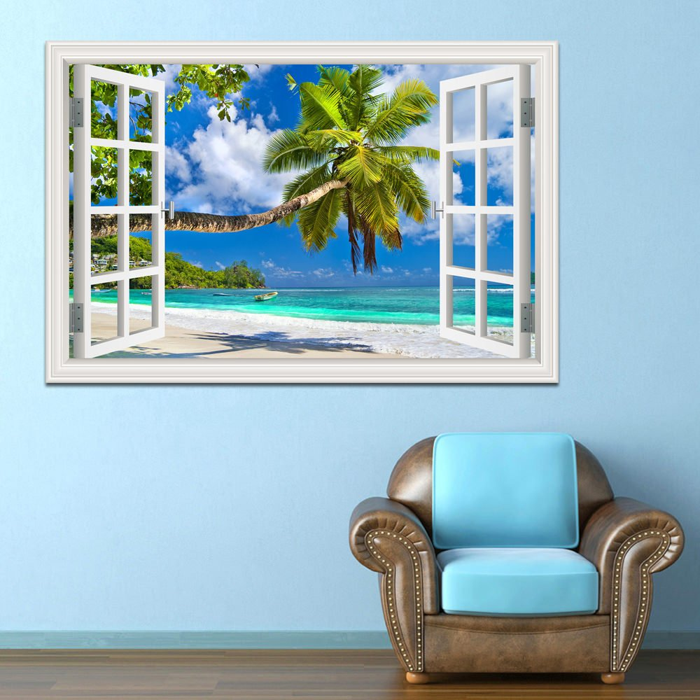 GreatHomeArt Beautiful White Beach Coconut Tree 3D Window View Wall Sticker Blue Ocean Theme Tropical Island Wall Decor Decals for Bedroom Mural Wallpaper 32X48