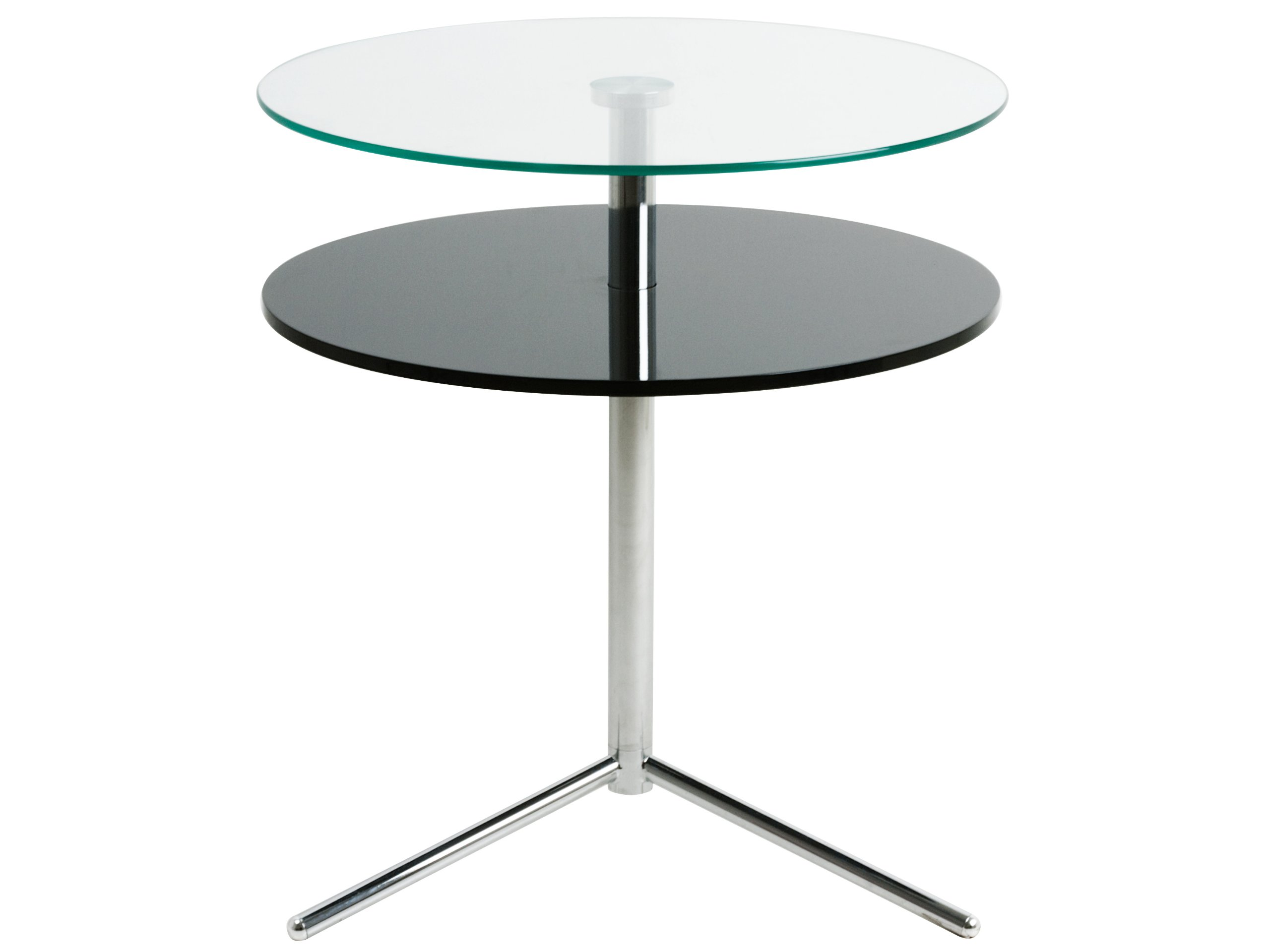 Present Time Leitmotiv Double Top Glass with Black Wood Table