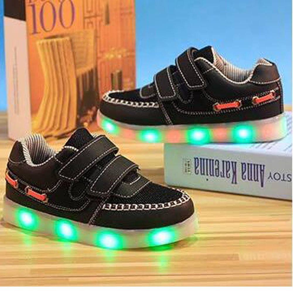 luckfugui Kids Boys Girls LED Light Breathable Flashing Sneakers Shoes netbk30
