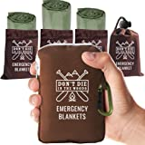 World's Toughest Emergency Blankets   4 Pack Extra Large Thermal Mylar Foil Space Blanket Heat Sheets For Hiking…