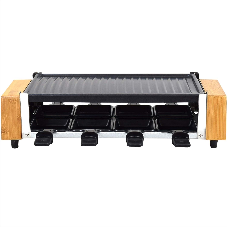 Hei/ßer Stein Holz Design f/ür 8 Personen Syntrox Germany RAC-1200WB Murten Raclette mit 4 Platten mit antihaftbeschichteter Grillplatte und Natursteinplatte