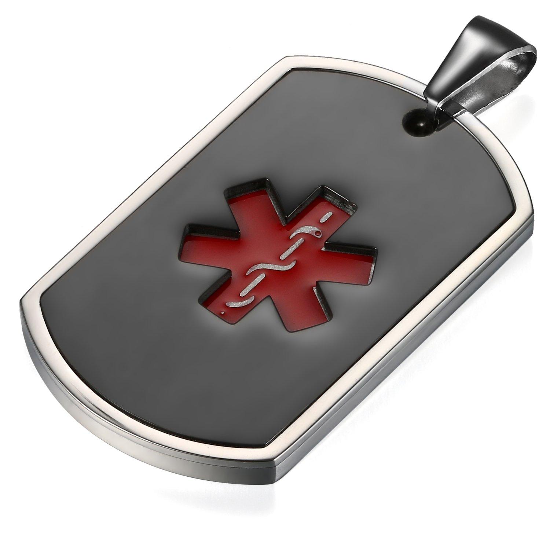 Flongo Placa Alerta Medica Cruz roja Collar de identificación Acero Inoxidable Personalizado