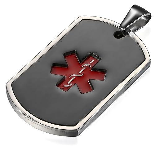 Flongo Placa Alerta Medica Cruz roja, Collar de identificación Acero Inoxidable Personalizado para alergias, Placa Dog Tag Militar de Hombre, Negro