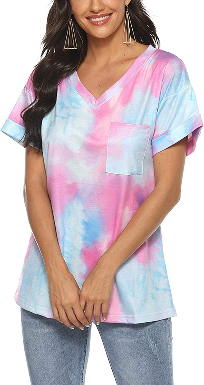 Pinspark Womens Tie Dye Shirts Casual V Neck Short Sleeve Tops Loose Summer Basic Tee T-Shirt