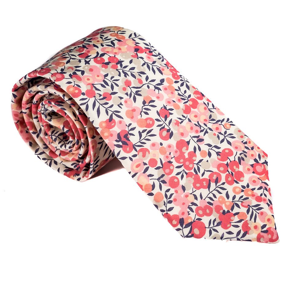 Luxury Neckties for Men: Liberty London Cotton Necktie, Classic Floral Print Tie