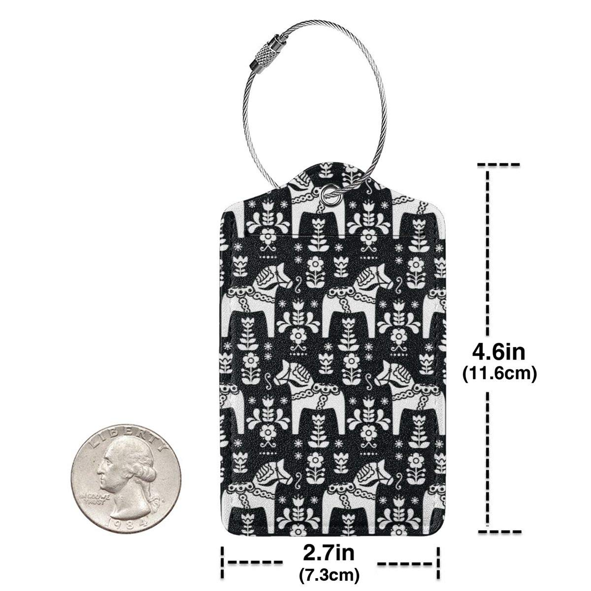 Swedish Folk Art Dala Horse Leather Luggage Tags Baggage Bag Instrument Tag Travel Labels Accessories with Privacy Cover