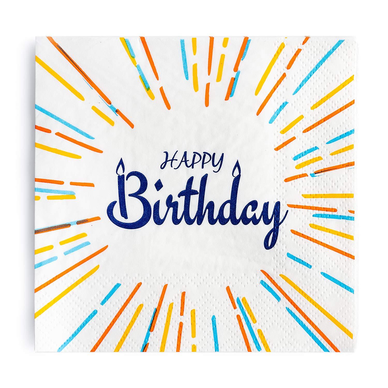 Crisky ハッピーバースデーナプキン 100枚 誕生日パーティーデコレーション 誕生日ディナー お祝いパーティー 記念品 デコレーション 3層 B07H29K6RQ