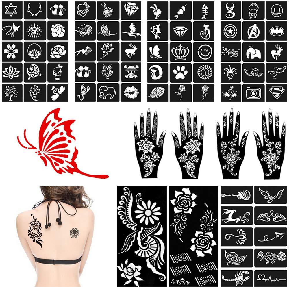 c1534e6c0 Amazon.com : lndia Henna Tattoo Stencil Kit (11 Sheets) Glitter Tattoo Kit  - Women Girls Hand Finger Body Paint Temporary Tattoo Templates Reusable  Henna ...