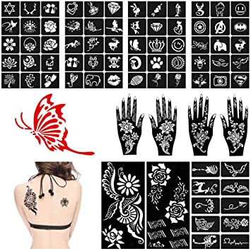 Amazon Com Lndia Henna Tattoo Stencil Kit 11 Sheets Glitter