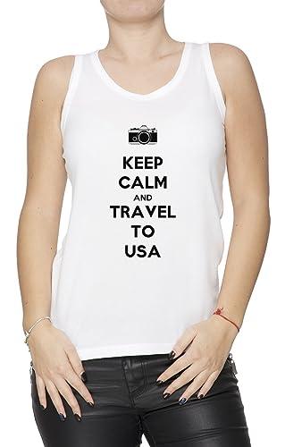 Keep Calm And Travel To Usa Mujer De Tirantes Camiseta Blanco Todos Los Tamaños Women's Tank T-Shirt...