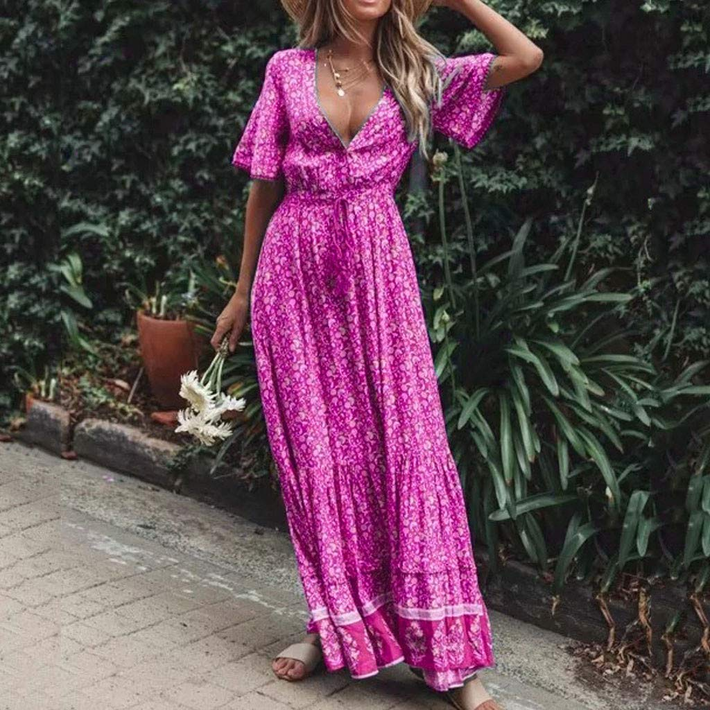 Serzul Women's Elegant Vintage Maxi Dress Short Sleeve Deep V-Neck Dress Print Tassel Buttons Dress Hot Pink by Serzul Women Dress (Image #2)