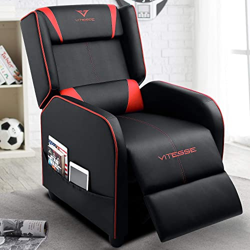 VIT Gaming Recliner Chair Racing Style Single PU Leather Sofa Modern Living Room Recliners Ergonomic Comfortable Home Theater Seating Red