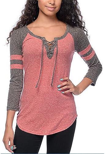 YOGLY Camisetas de Mujer Camisetas Manga Larga para Mujer Blusa de Cuello Redondo Tops Camisa de Muj...