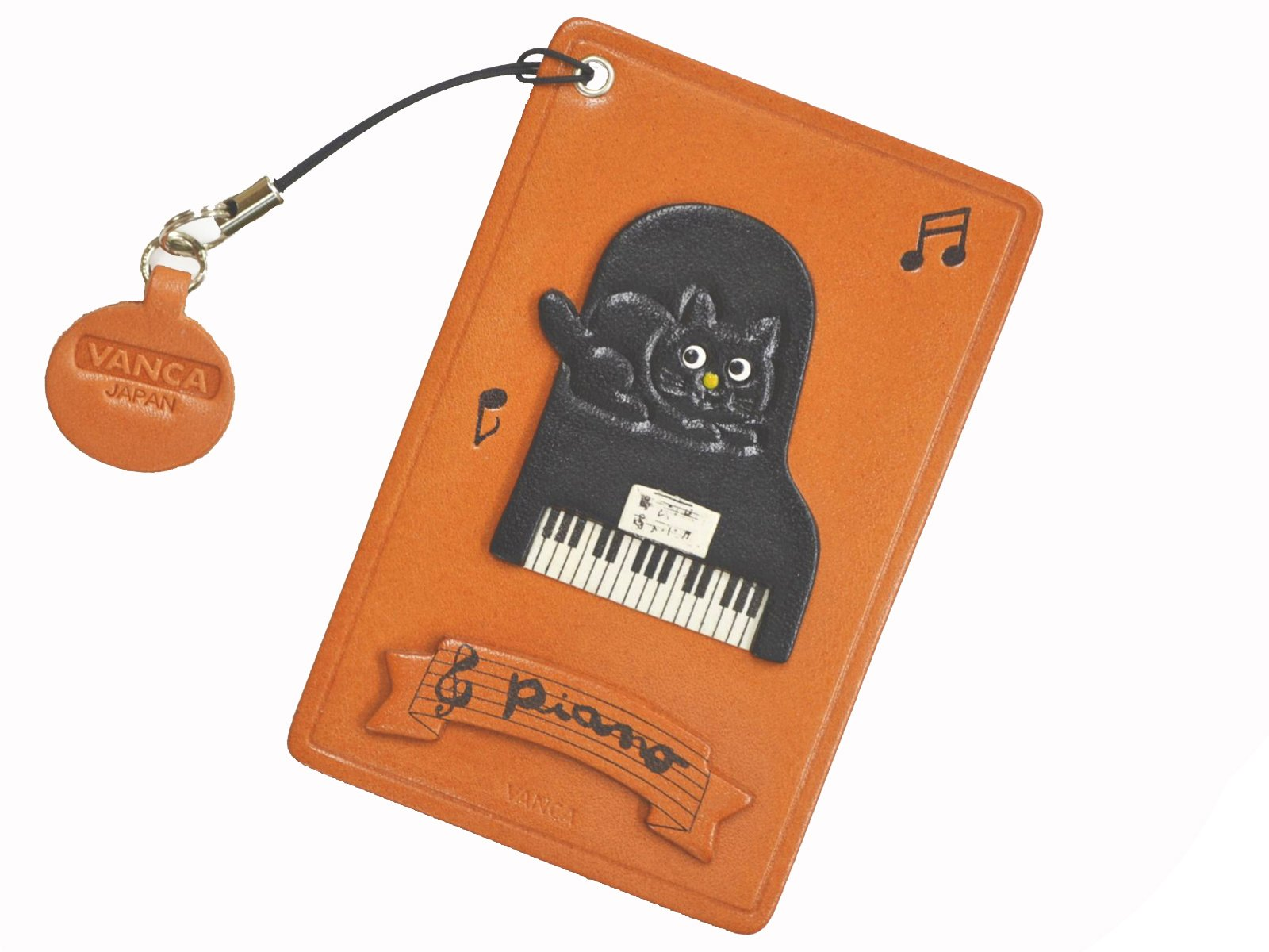 Cat on the Piano Leather Animal Pass/ID/Card Holder/CaseVANCA Handmade in Japan