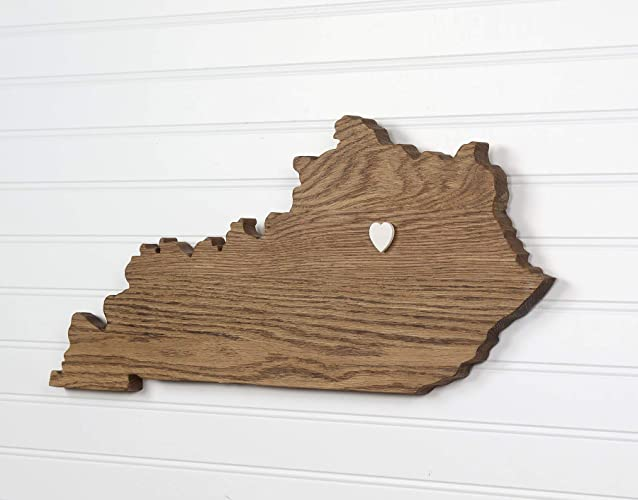 Kentucky State Shape Wood Cutout Sign Wall Art In Oak 20 Wide 6 Stain Colors Personalized With Choice Of Wooden Dimensional Heart Or Star At