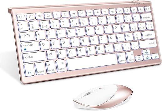 Jelly Comb - Teclado y ratón para iPad y iPhone, teclado y ratón retroiluminados con Bluetooth para iPad de 10,2