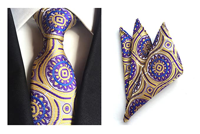 c9955be76ac3 Amazon.com: MENDENG Men's Gold Purple Paisley Silk Ties Wedding Suit Tie  Hanky 2 Pieces Sets: Clothing