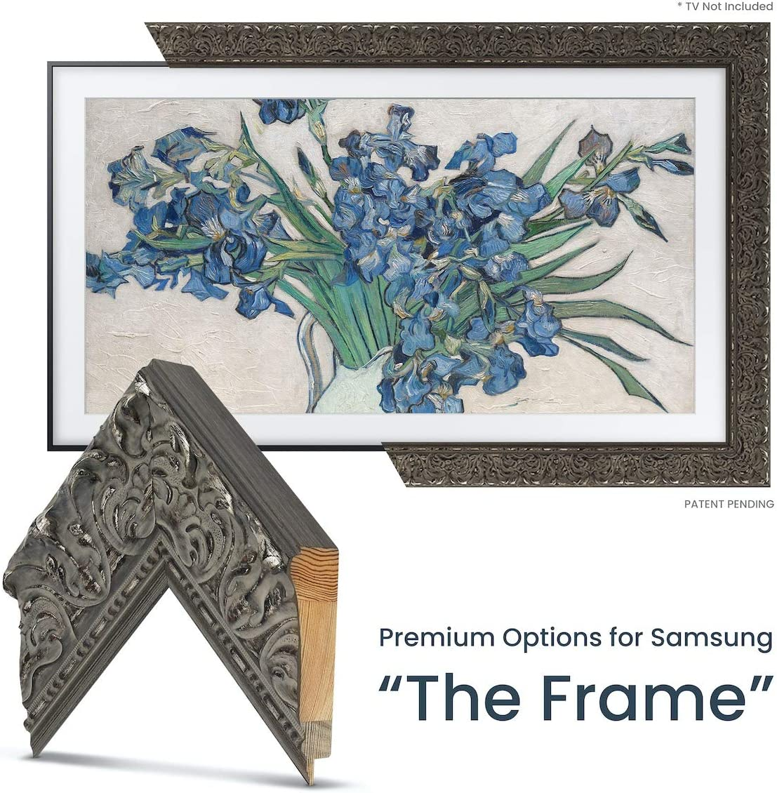 "Deco TV Frames - Tuscan Silver Frame Custom for Any Size Samsung The Frame TV (50"")"