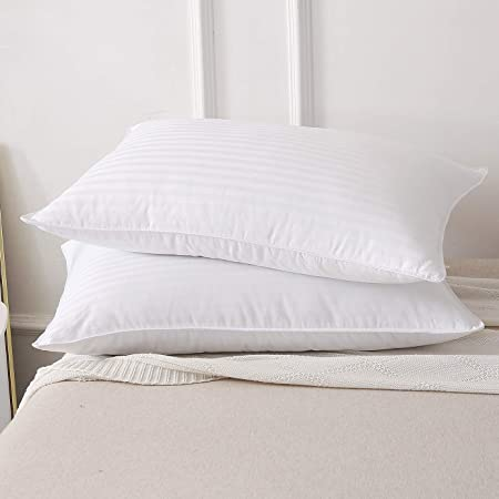 Duck Feather and Down Pillow Pair  Anti Allergy Cotton Case Deluxe Quality  x 2