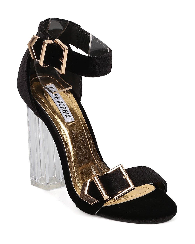CAPE ROBBIN Women Lucite Block Heel - Ankle Strap Perspex Heel - Buckle Chunky Heel - HK11 by Black Velvet (Size: 7.0)