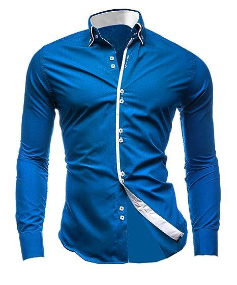 27246156043010 Chemise à manches longues élégante pour homme Lyon Becker® - Coupe ajustée  décontractée, style italien, double col