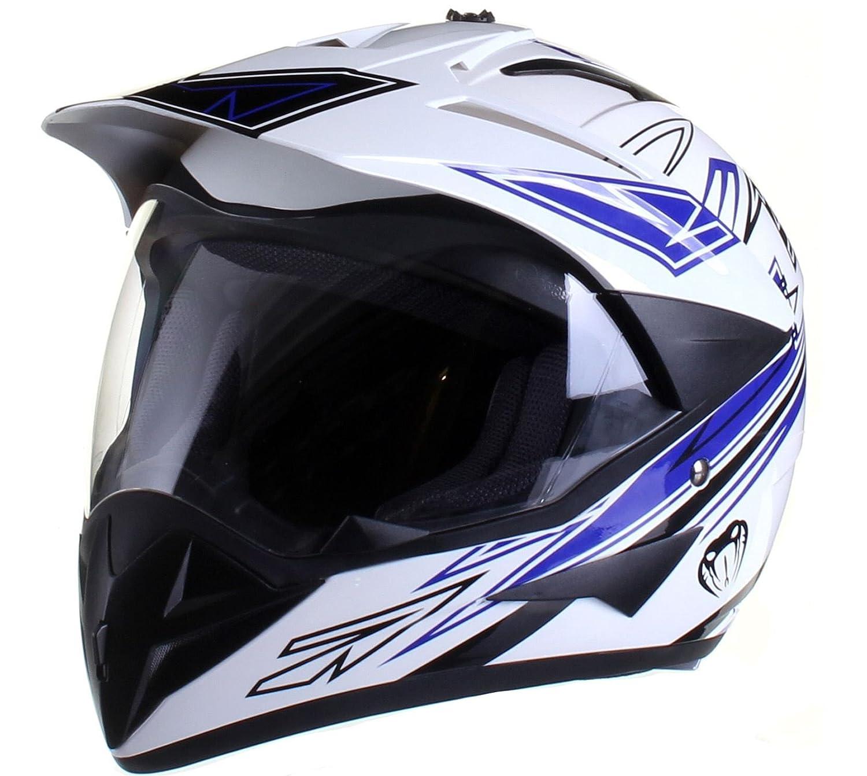 Amazon.es: Casco protector con doble visera MX - Para motocross / todoterreno / enduro / MX / cicloturismo - Azul - L (59-60 cm)