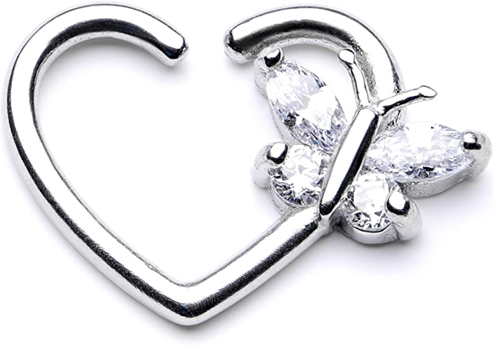 Body Candy 16G Steel Clear Accent Crescent Moon Heart Dangle Closure Ring Daith Helix Tragus Rook 3//8