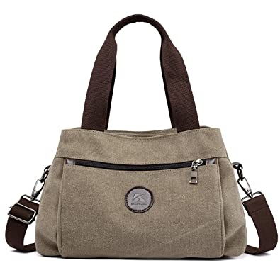 Amazon.com  Women Canvas Handbags 3 Top Zipper Open Shoulder Bags Multi  Pocket Crossbody Bag Purse 0c85b0ee6946e
