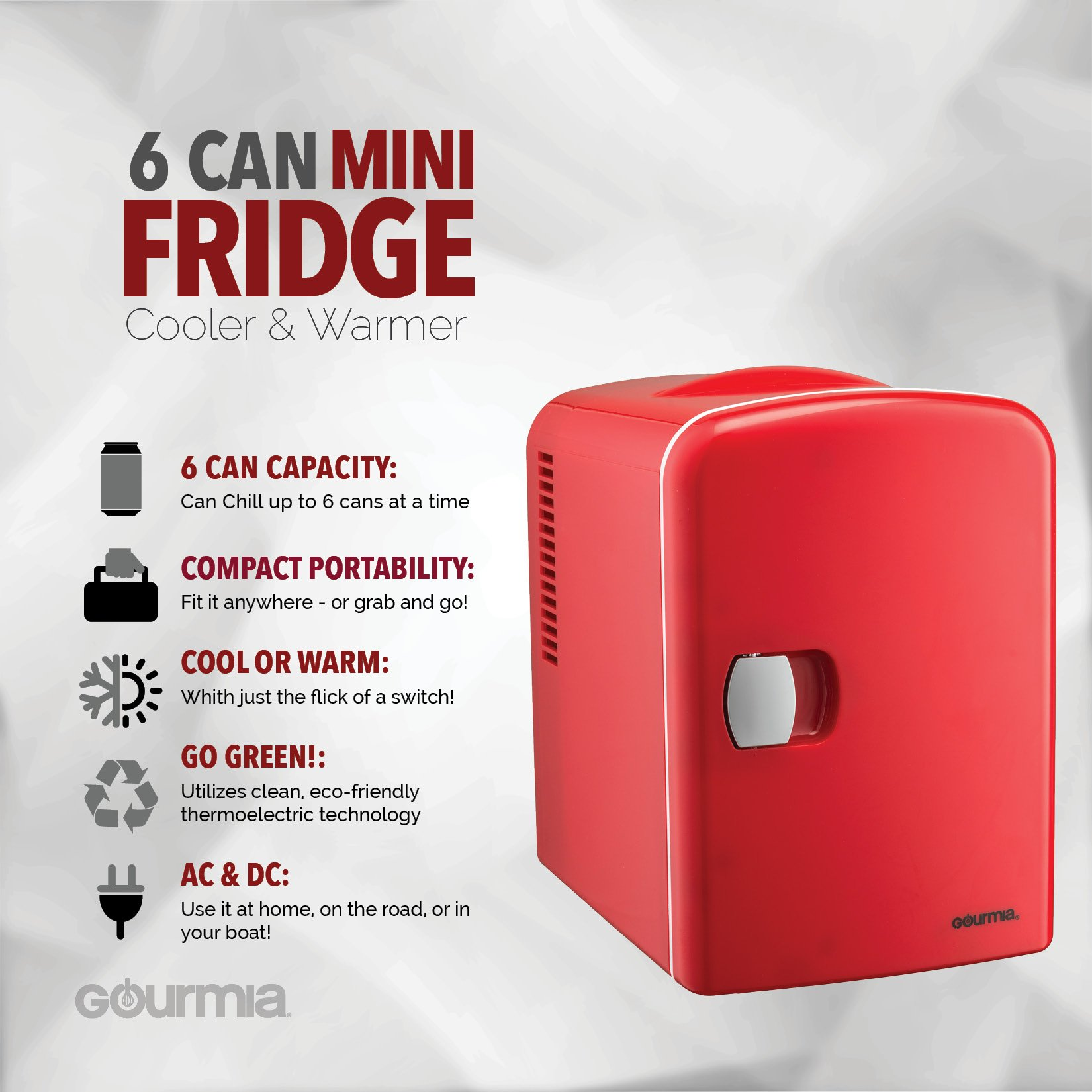 Gourmia GMF600 Thermoelectric Mini Fridge Cooler and Warmer - 4 Liter/ 6 Can - For Home,Office, Car, Dorm or Boat - Compact & Portable - AC & DC Power Cords - Red by Gourmia (Image #2)