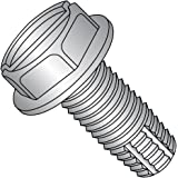 Slotted Drive 3//8 Length Plain Finish Pack of 25 Hex Washer Head #10-32 Thread Size 410 Stainless Steel Thread Cutting Screw Type F