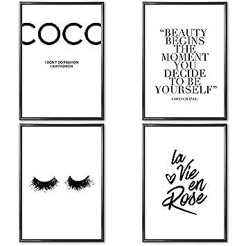 Verschiedene Poster Set S Coco Chanel 4 X Din A3 Ohne