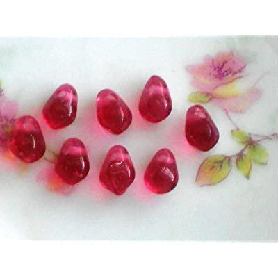 Vintage Beads Glass Drops Dangles Pink Teardrop Pomegranate Seeds 5x7mm nrLA-359: Arts, Crafts & Sewing