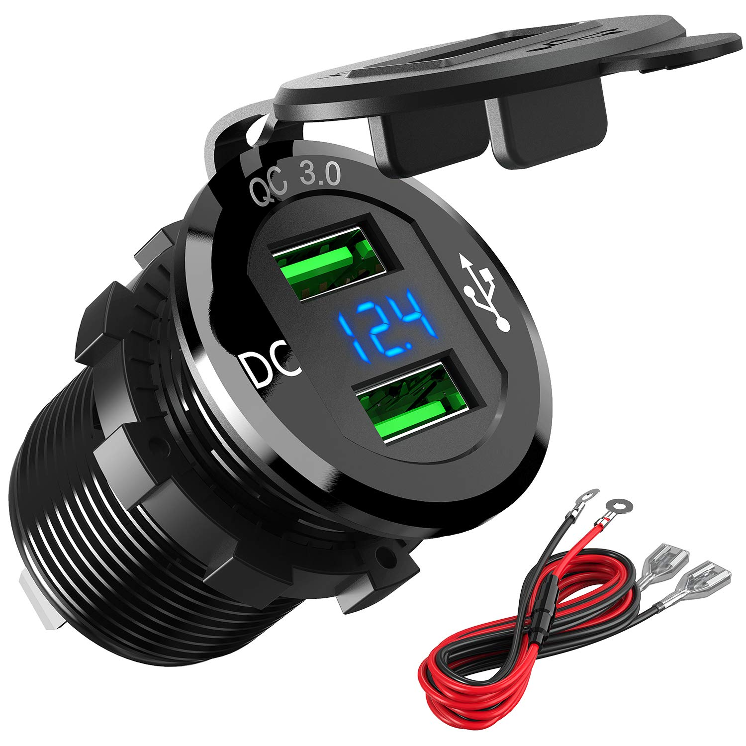 Quick Charge 3.0 Car Charger, Higoing 12V/24V 36W Aluminum Waterproof Dual QC3.0 USB Fast Charger Socket Power Outlet Adapter LED Digital Voltmeter& ...