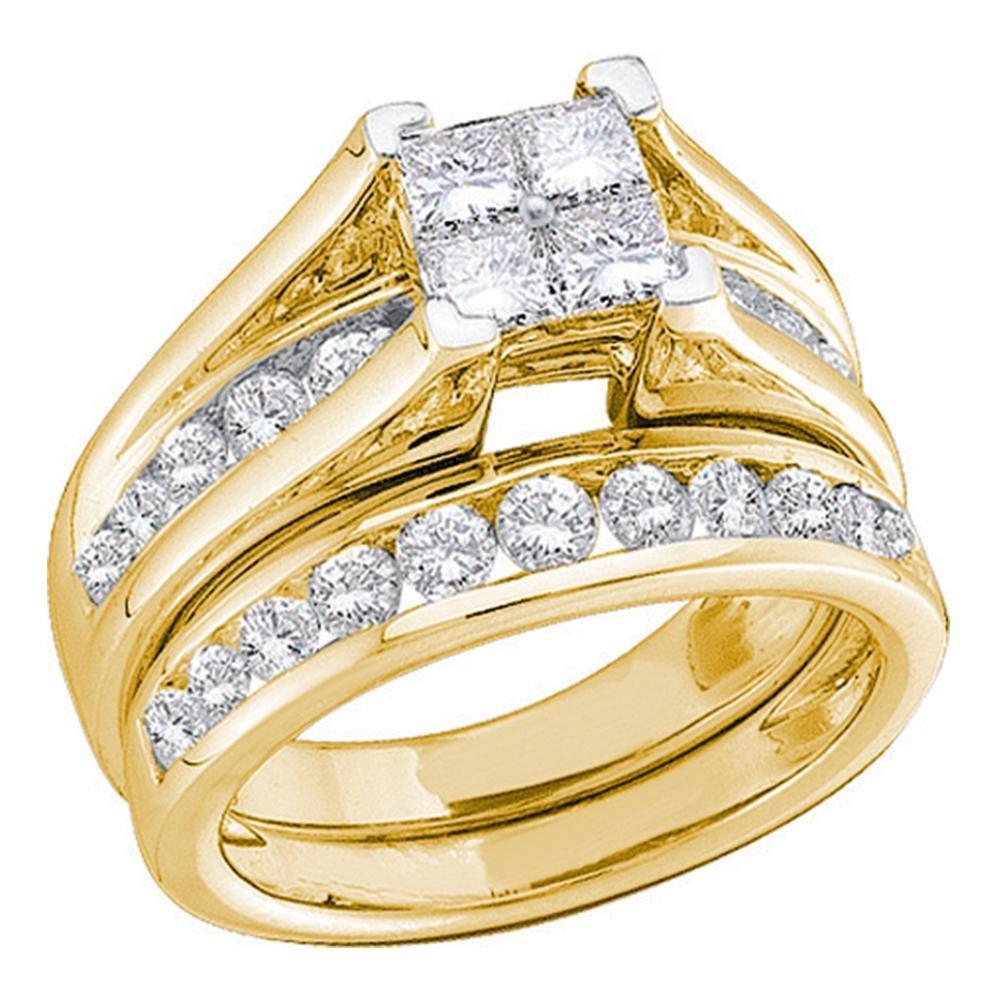 Princess Diamond Cluster Engagement Ring & Wedding Band 10k Yellow Gold Bridal Set Round Stones 1/2 ctw