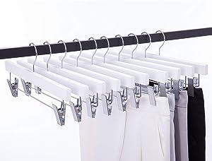 Cocomaya 14 Inch Luxury White Solid Wooden Skirt Hanger Pants Hangers Bottom Hanger Jeans Hanger Skirt Hanger with Anti-Wrinkle Clips, Pack of 10 (White Color, 10)