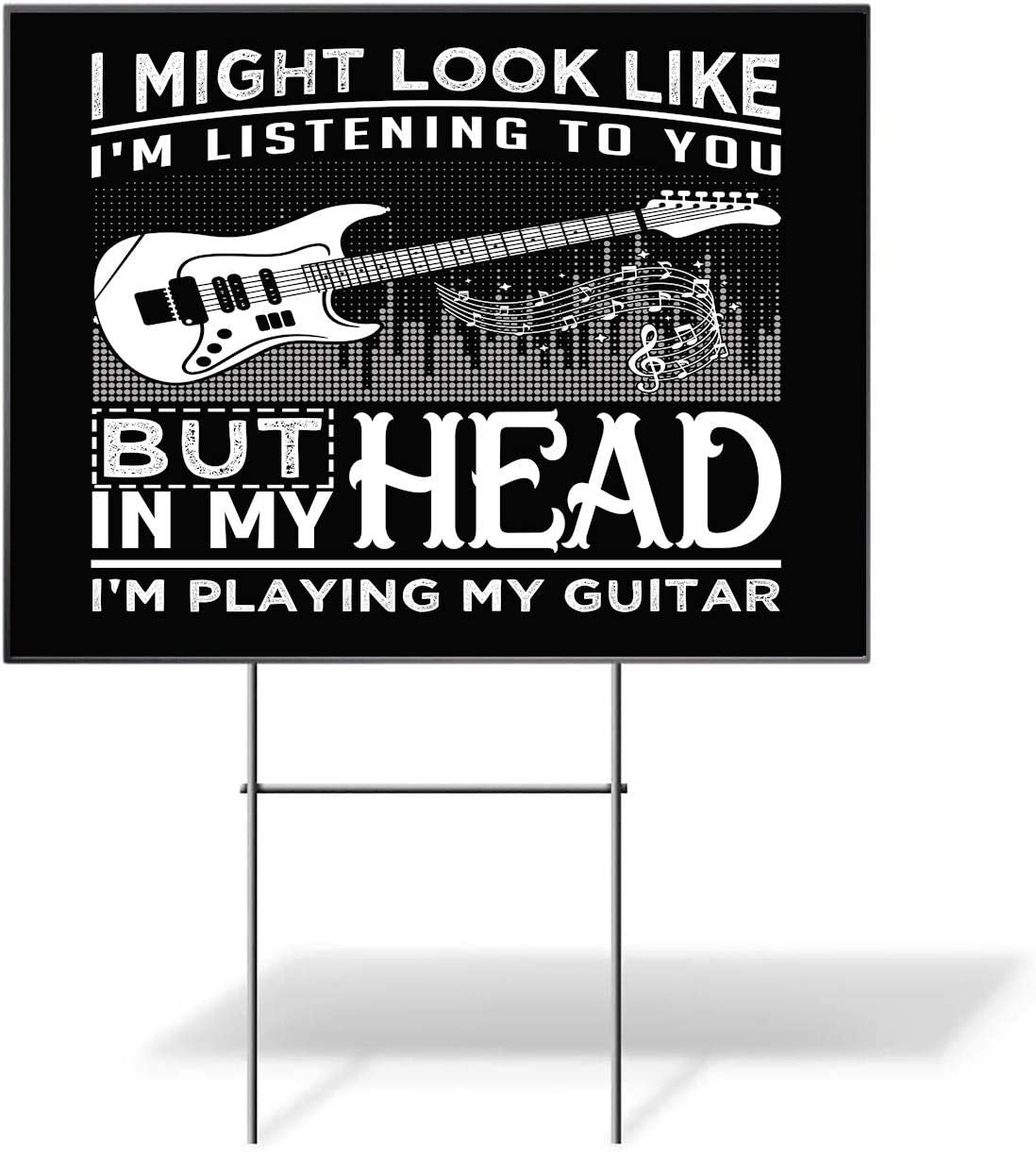 나는 당신에게 음악을 듣고있는 것처럼 보일 수도 있습니다 기타 야드 사인-파티 장식-1 조각(18X12 2 양면)