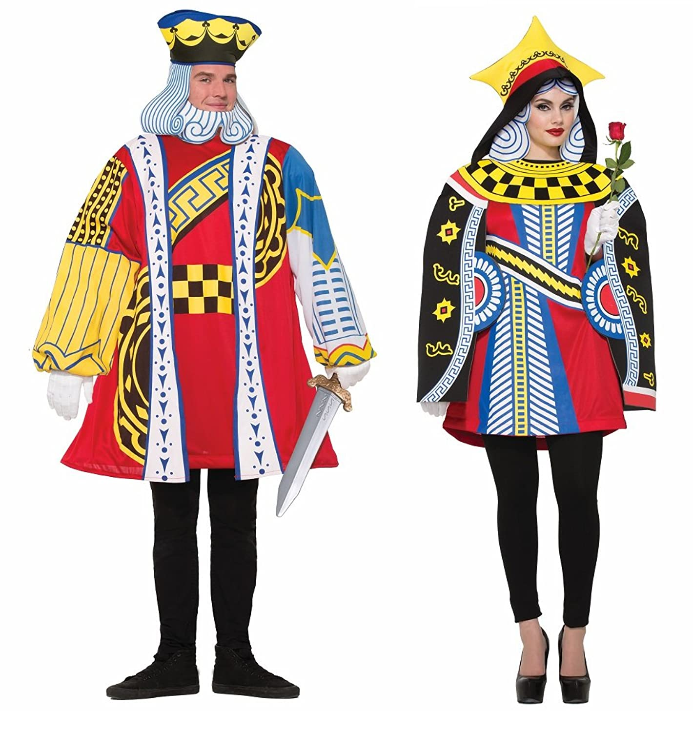 Adult King and Queen of Hearts Playing Card Couples Costumes - DeluxeAdultCostumes.com