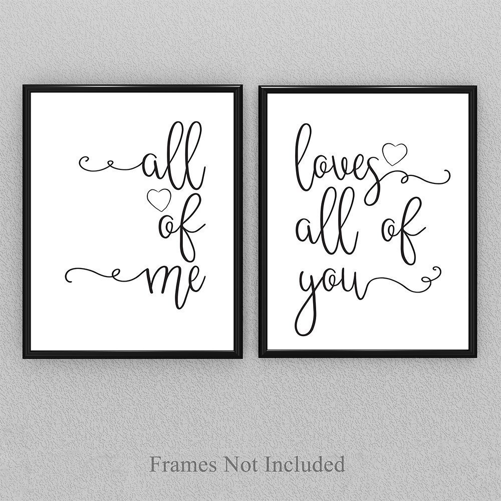 All Of Me Loves All Of You - Set of 2-11x14 Unframed Typography Art Prints - Great Home Decor or Wedding Gift