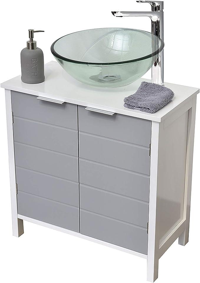 TENDANCE Mueble Encima del Lavabo o Fregadero - 2 Puertas y 1 estantería - Color Blanco y Gris