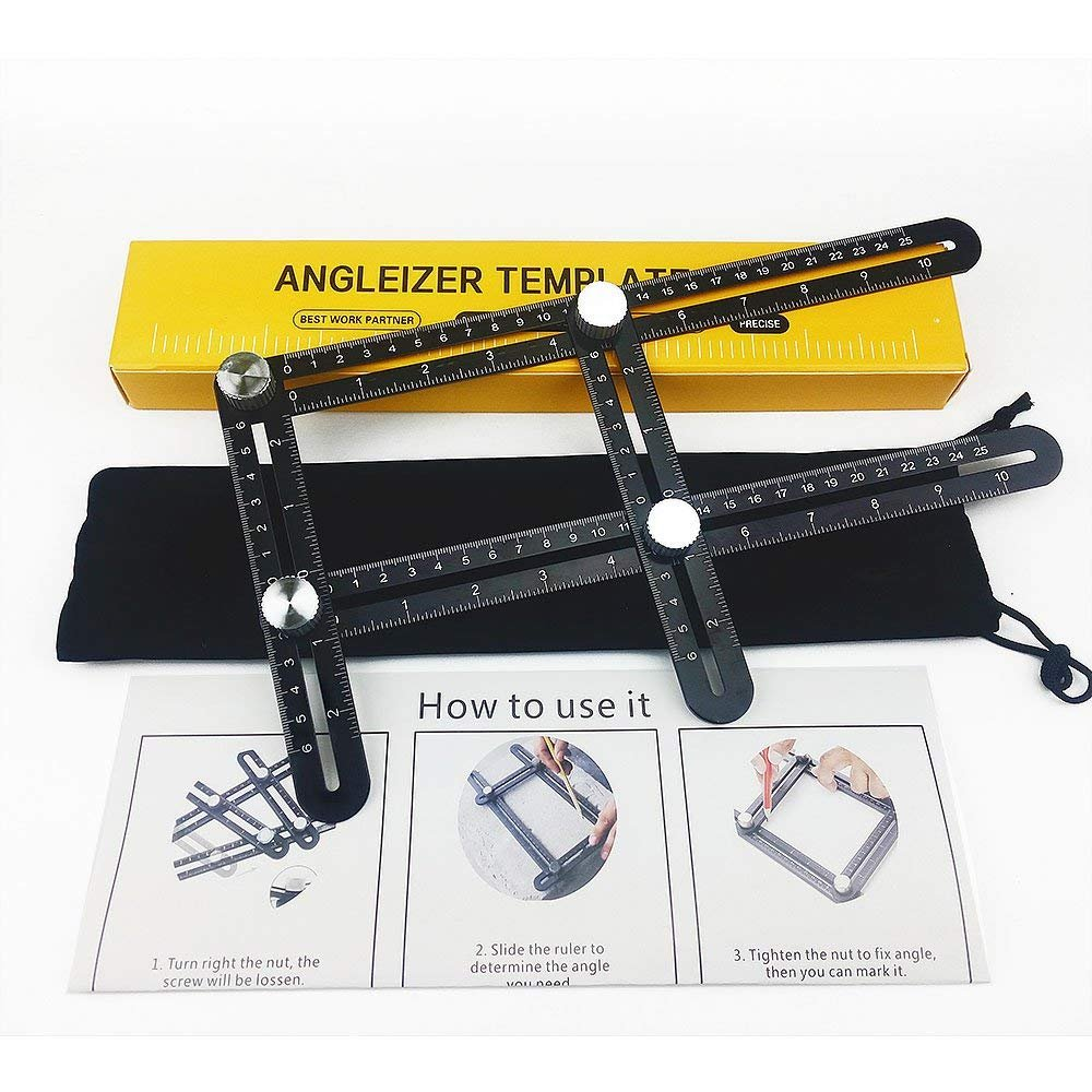 YANX Multi Angle Measuring Ruler Made of Premium Aluminum Alloy Template Tool for Craftsmen Handymen Carpenter DIY (Black)