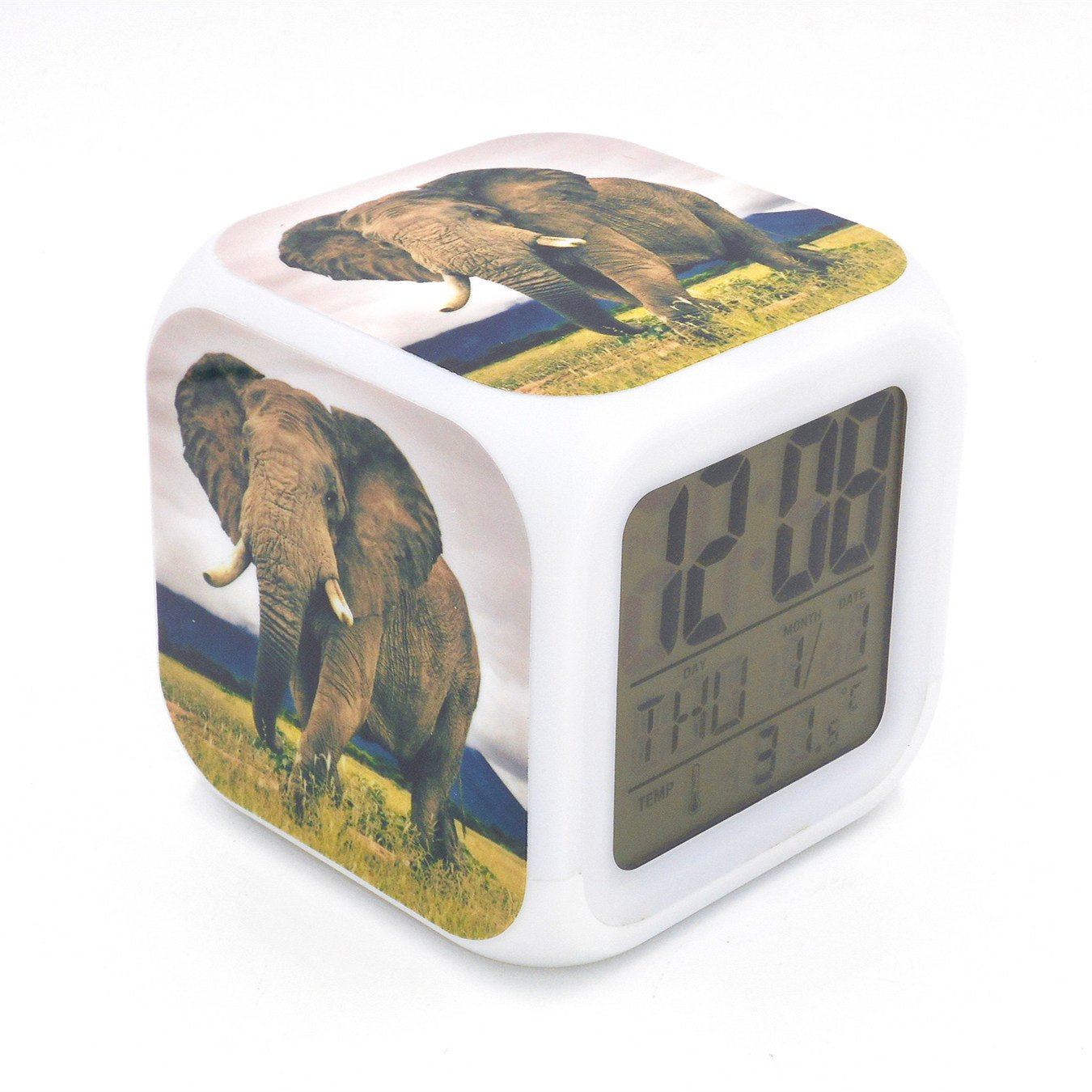 Boyan New Wild Elephant Animal Led Alarm Clock Creative Desk Table Clock Multipurpose Calendar Snooze Glowing Led Digital Alarm Clock for Unisex Adults Kids Toy Gift