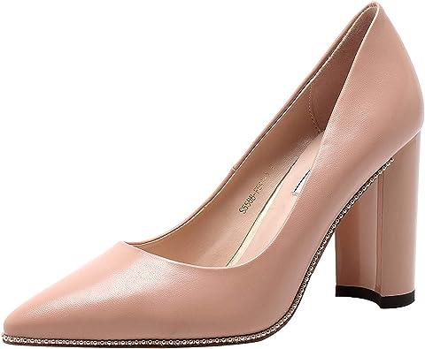 vivianly Women Pointed Toe Block Heel