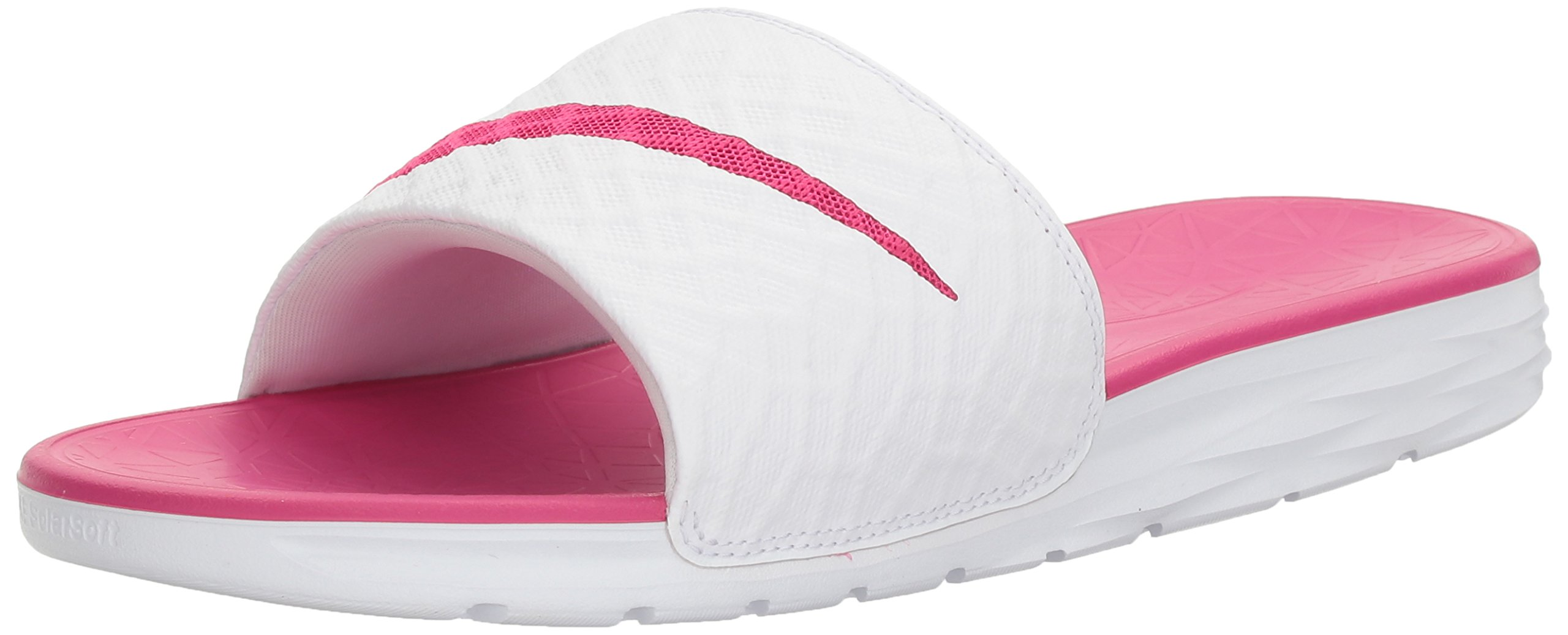 NIKE Women's Benassi Solarsoft Slide Sandal, White/Fire Berry, 11 B(M) US